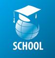 logo academic cap on the globe vector image vector image