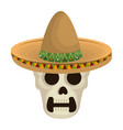 mexican mariachi skull character vector image vector image
