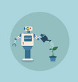 modern robot watering plant futuristic artificial vector image vector image