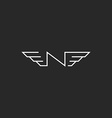 N logo wings letter monogram black and white vector image vector image