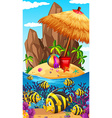 Nature scene with fish and island vector image vector image