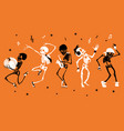 orange dancing and musical skeletons vector image