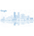 outline changsha china city skyline with blue vector image