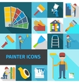 Painter icons set flat shadow vector image vector image