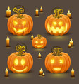 pumpkin set with smile vector image vector image