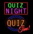 quiz glowing neon sign vector image