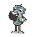 robot child with book sketch engraving vector image vector image