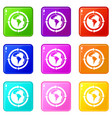 round arrows around world planet icons 9 set vector image vector image