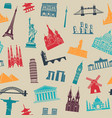 seamless background with tourist attractions vector image vector image