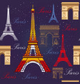 seamless pattern with eiffel tower and triumphal vector image