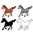 set horse character vector image vector image