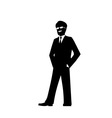 smiling businessman silhouette vector image vector image