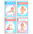 smiling newborn character bashower card vector image