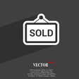 Sold icon symbol Flat modern web design with long vector image