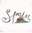 spain hand lettering and church holy family vector image
