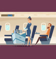 stewardess background avia company persons vector image vector image