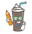 student ice chocolate character cartoon vector image vector image