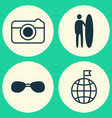 travel icons set collection of summer glasses vector image vector image