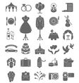 Wedding Icons Dark Silhouettes vector image vector image
