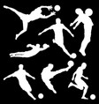 white silhouette of football player on black vector image vector image