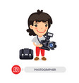 woman photographer cartoon character vector image vector image