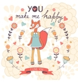 You make me happy romantic card with cute vector image vector image
