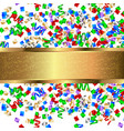 gold banner with colorful confetti and colorful vector image