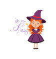 cute small witch casts a spell with the magic wand vector image