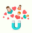 magnet attracting love hearts boys and girls on vector image