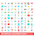 100 medical equipment icons set cartoon style vector image vector image