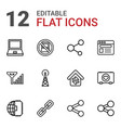 12 network icons vector image vector image