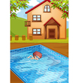 A boy swimming at the pool in his backyard vector image vector image