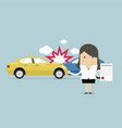 businesswoman shows the document car protection vector image vector image
