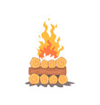 campfire logs burning bonfire and firewood stack vector image vector image