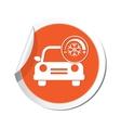 car with air conditioner icon orange label vector image