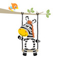 cartoon of zebra playing swing with a little bird vector image