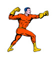cartoon super hero running punching vector image vector image