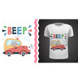 cat in car - idea for print t-shirt vector image