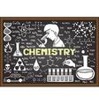 Chemistry on chalkboard vector image vector image