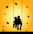 child two on swing silhouette vector image vector image