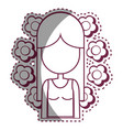 contour woman peace and love relax vector image vector image
