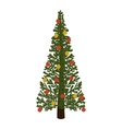decorated green christmas tree with trunk vector image vector image