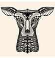 Deer head tattoo mehendi vector image