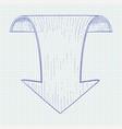 down arrow hand drawn sketch vector image vector image