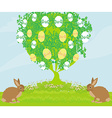 Easter card with rabbits and tree vector image vector image