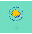 ebook logo book store digital library vector image vector image
