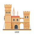 fortress lock castle fort towers with drawbridge vector image vector image