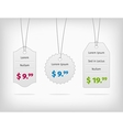 Hanging steel pricing tags with colorful prices vector image vector image