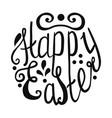 happy easter egg lettering on white background vector image