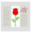 happy valentines day card with rose vector image vector image